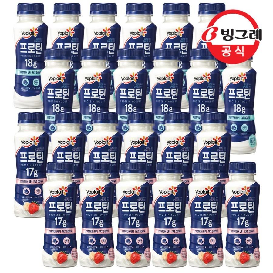 [빙그레]요플레 프로틴 드링크 210g x 24개, 요플레 프로틴 드링크 플레인12개+딸기바나나12개