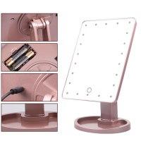 Led 조명 터치 스크린 메이크업 거울 테이블 세 배 거울 데스크탑 수조 밝은 조절 usb 케이블 또는 배터리 사용 (TOP 5639171601)