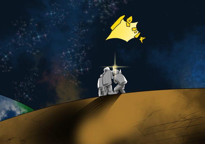月面で記念写真を撮りたい