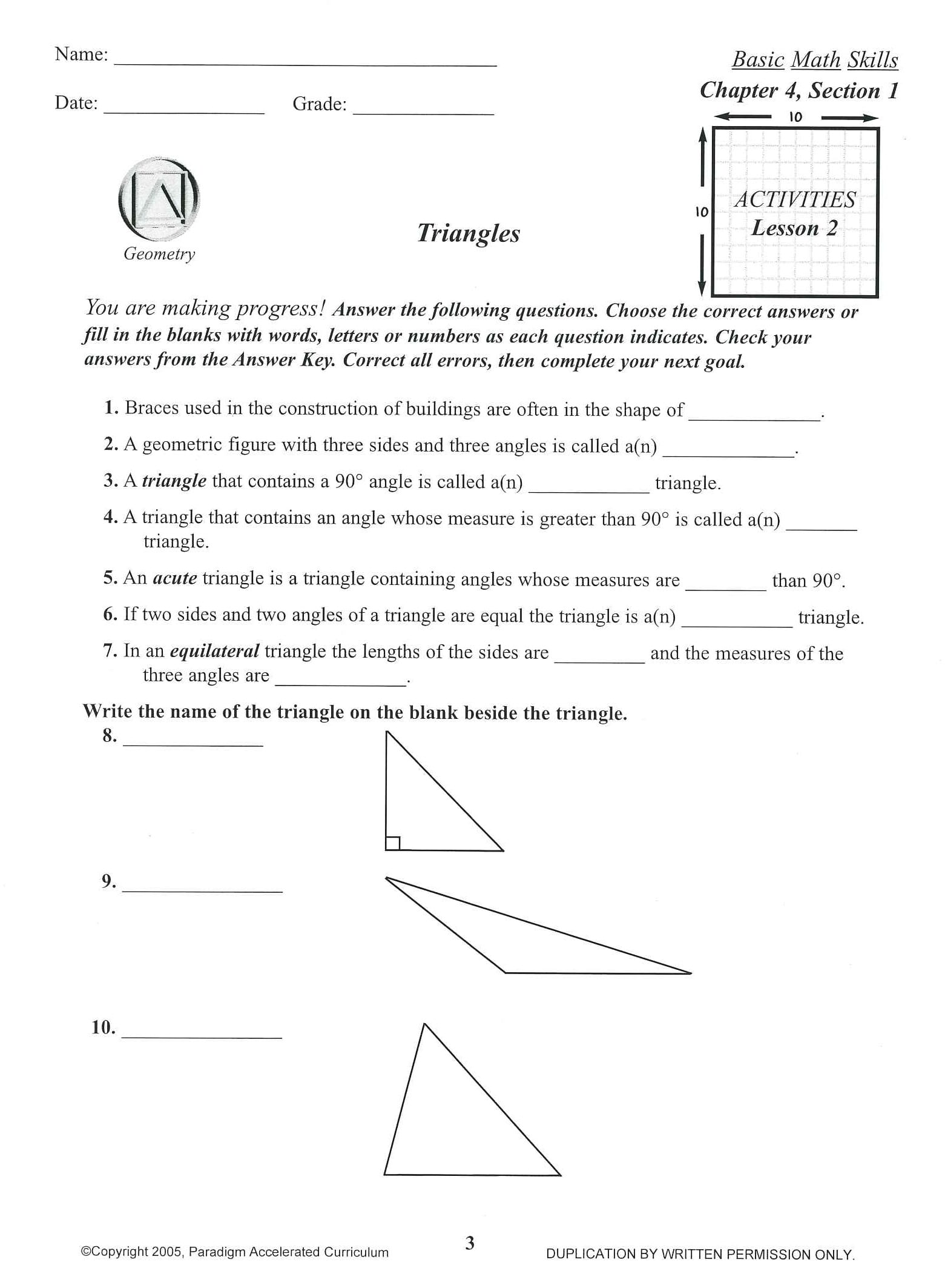 Basic Math Skills Chapter 4 Activities Save Now