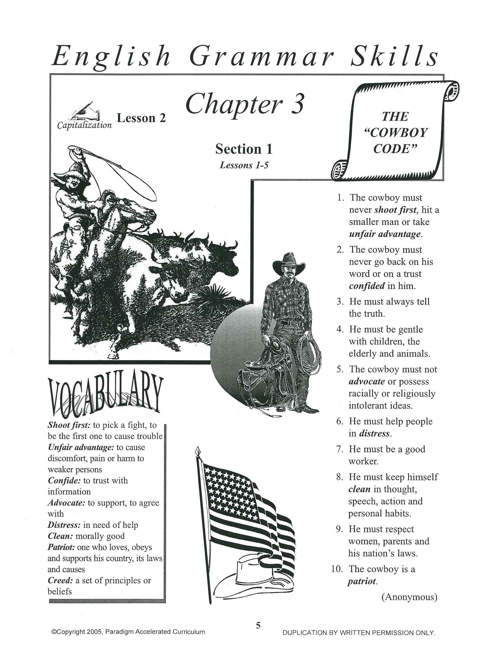 P.A.C. English Grammar Skills Text Booklet Chapter 3