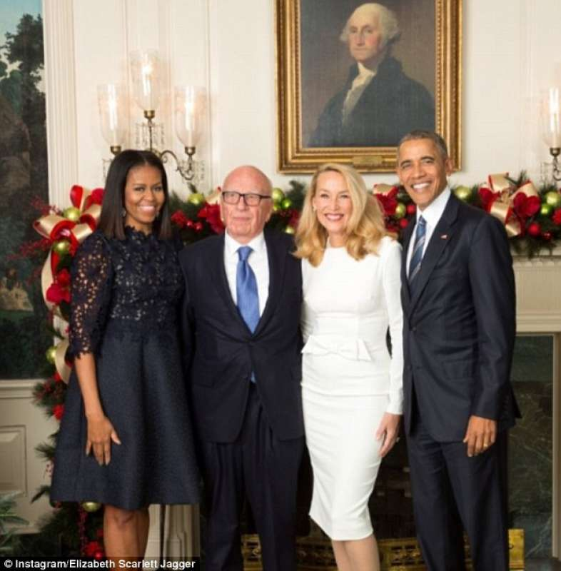 barack e michelle obama con rupert murdoch e jerry hall