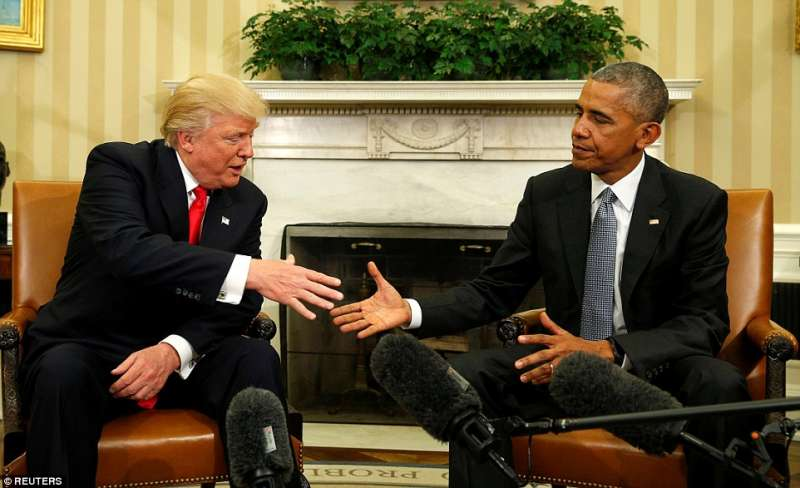 trump e obama alla casa bianca