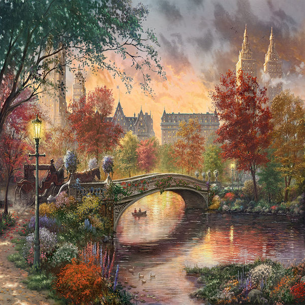 Go Get It Girl Laptop Wallpaper Autumn In New York By Thomas Kinkade Decalgirl