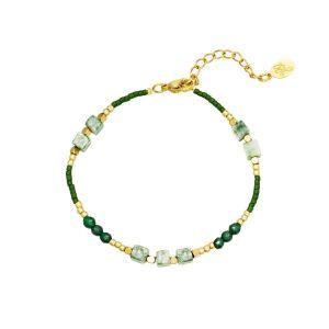 Armband All Natural Zwart met Groen
