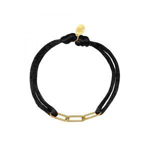Armband Satin Chains Zwart met goud