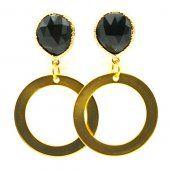 FUSHI Oorbel facet geslepen crystal zwart met open ring goud