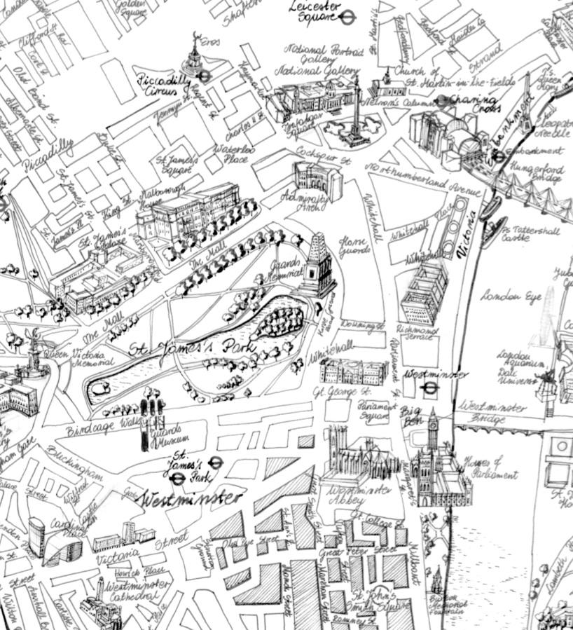 modern 1800s hand drawn grand wall map of london