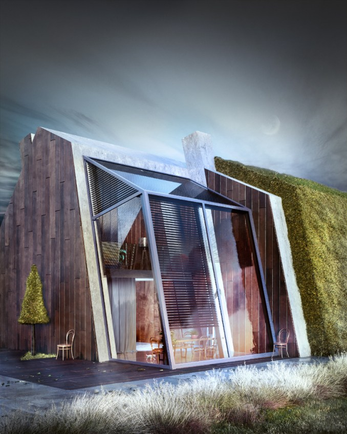 greenhouse by wamhouse studio is a modern cottage covered intimber and grass designboom