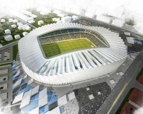 bahadir kuls batumi football stadium faade embodies a