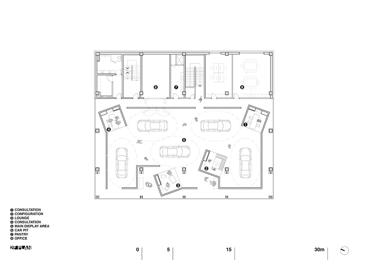 Car showroom layout plan