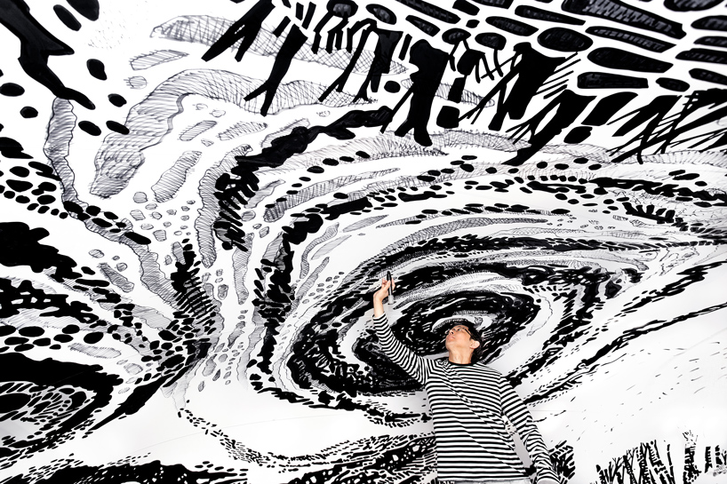 oscar oiwa paints hypnotic 'BLACK & LIGHT' mural within an inflatable dome - The Moment Magazine - Culture Curated