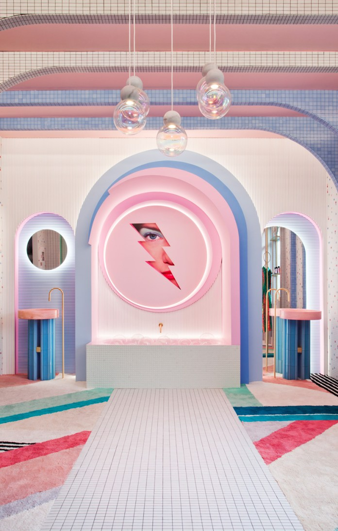 patricia bustos references video games to create retro-futuristic dressing room