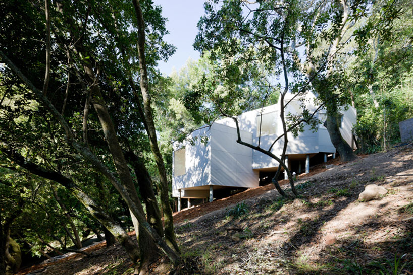 the mill valley house cascades down the side of a steep hill in california