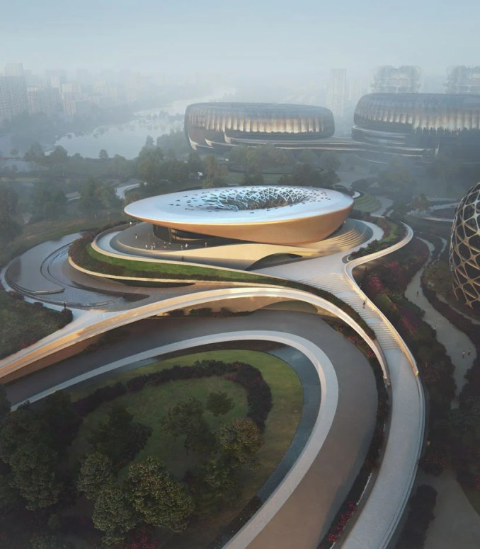 the first building of zaha hadid's 'unicorn island' nears completion in chengdu, china designboom