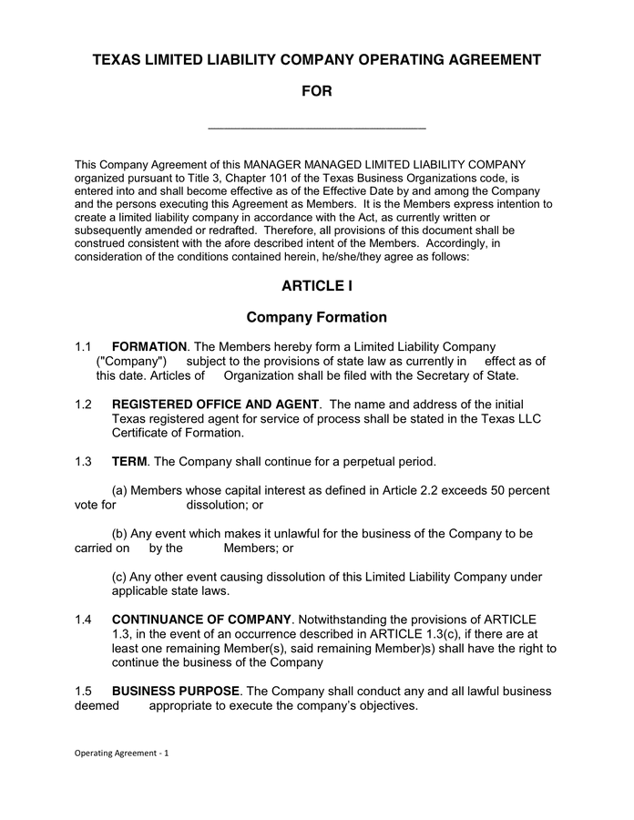 An explanation of the llc business form, including llc taxation, common myths, and how to form an llc in one or more states. Texas Llc Operating Agreement In Word And Pdf Formats