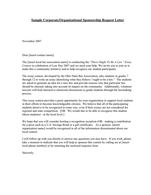 Sponsorship Request Letter In Word And