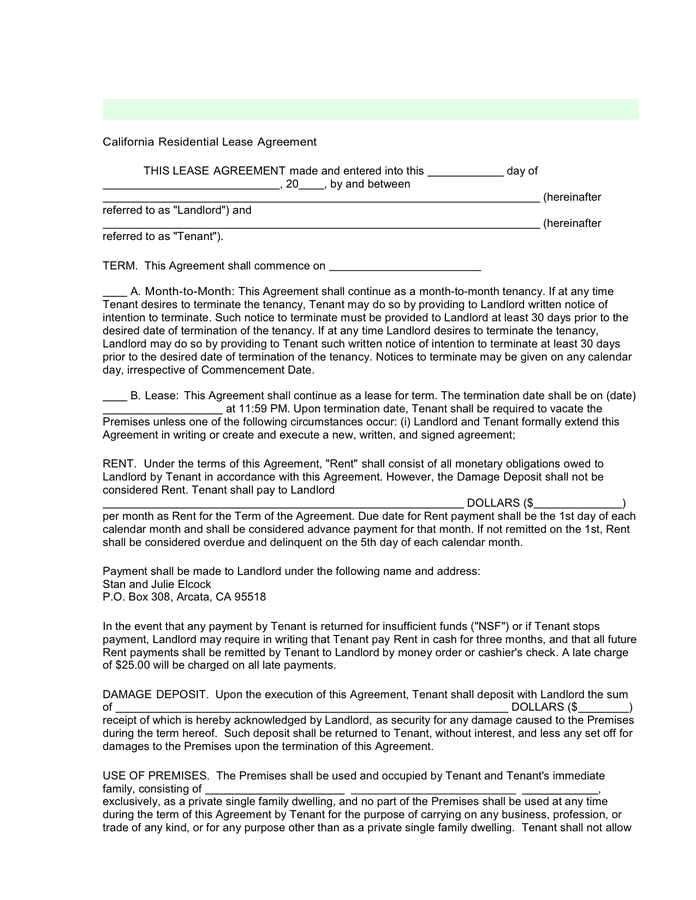 Explanation of a rental agreement term and legal form, peculiarities, and rules to use when filling this form in california. California Residential Lease Agreement In Word And Pdf Formats