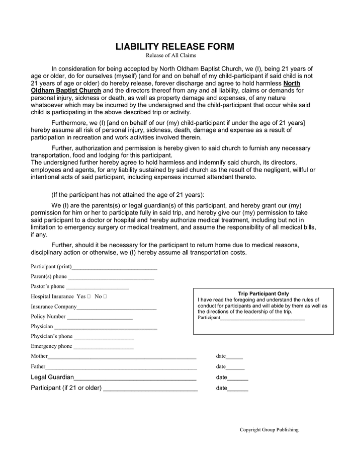 Liability release form in Word and Pdf formats