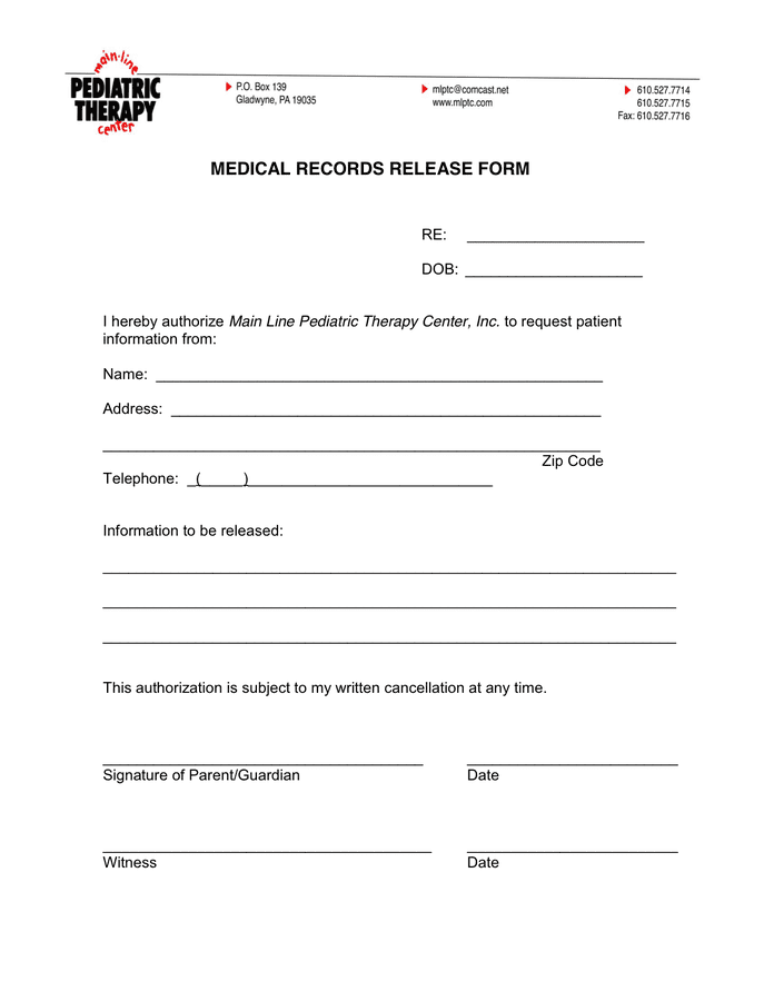 Medical records request form in Word and Pdf formats