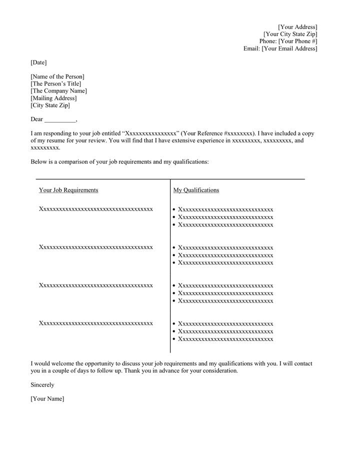 Formatted T Cover Letter Template in Word and Pdf formats