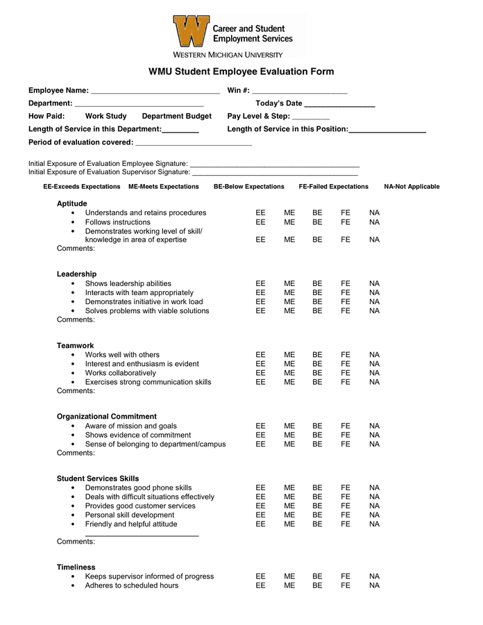 Student employee evaluation form in Word and Pdf formats