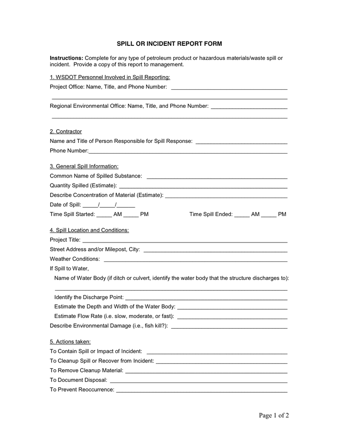 spill incident report template