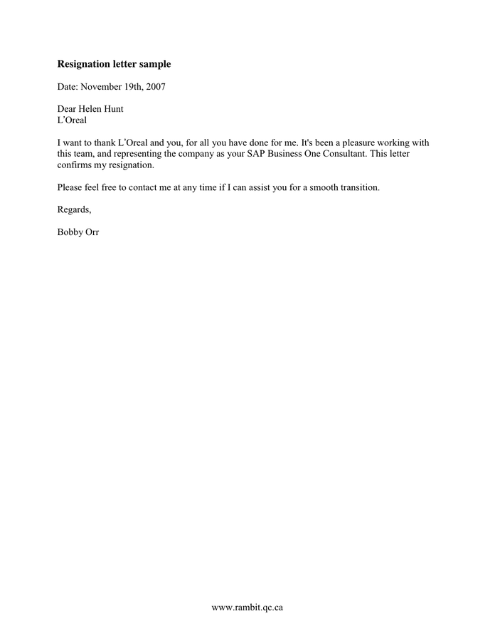Resignation letter sample in Word and Pdf formats