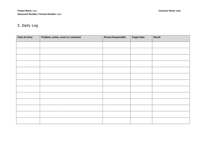 22/04/2017· logs april 22, 2017 april 22, 2017 kate daily activity planner, daily work log, work log, work log template what is daily work log? Daily Log Word Template In Word And Pdf Formats Page 3 Of 5