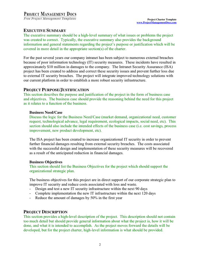 Project Charter Template In Word And Pdf Formats Page 3 Of 8