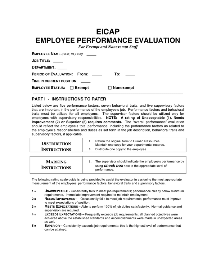 Annual Employee Evaluation Form in Word and Pdf formats