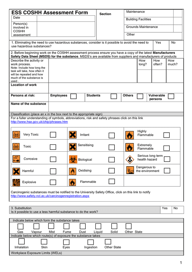 Blank Risk Assessment Template in Word and Pdf formats
