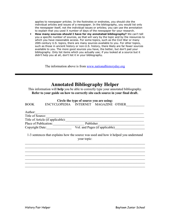 Annotated Bibliography Template in Word and Pdf formats