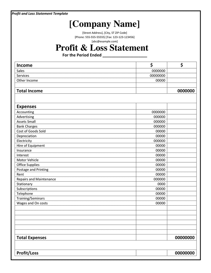 Doc454671 Profit and Loss Forms Profit and Loss Statement – Profit and Loss Statement Form