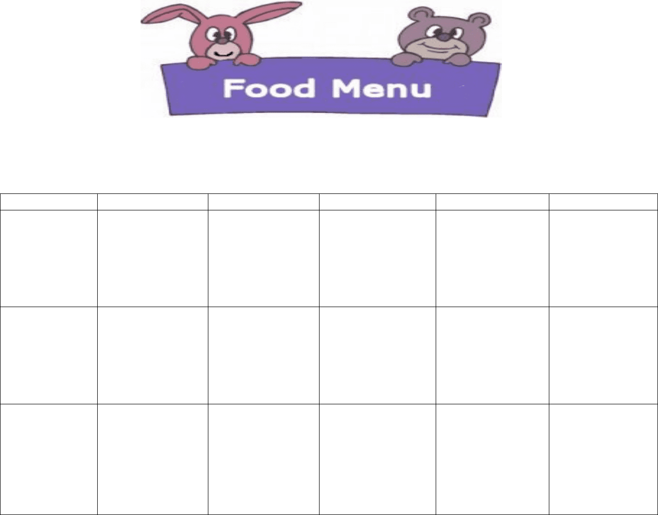 Daycare Food Menu Template In Word And Formats