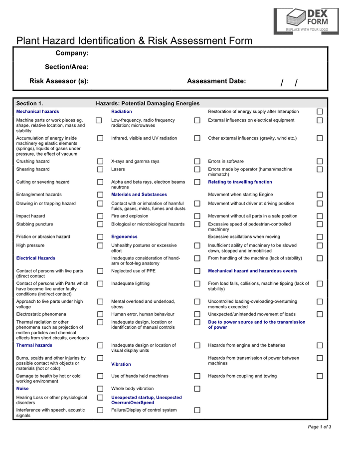 Plant hazard identification & risk assessment form in Word and Pdf ...