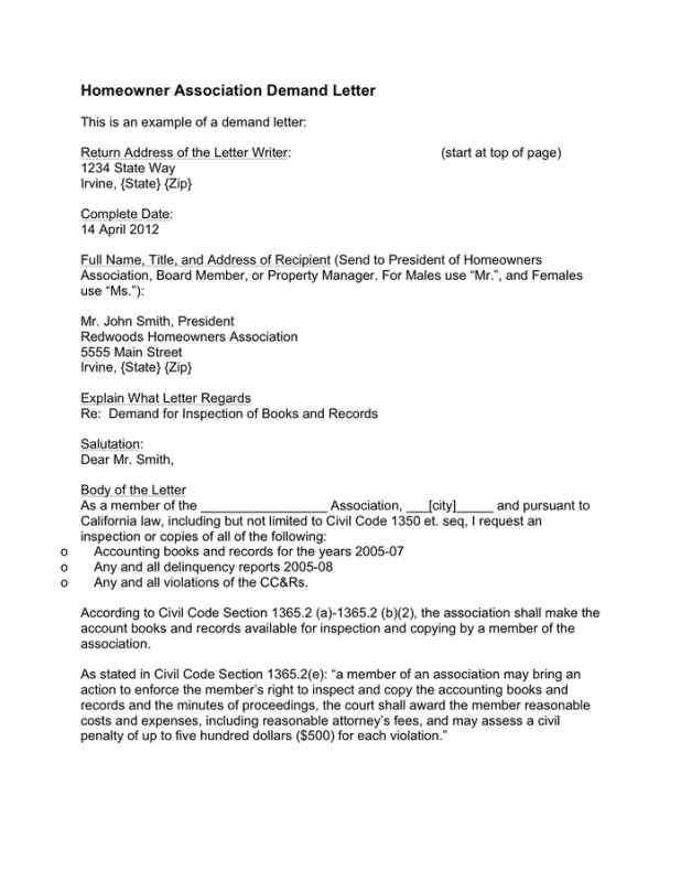 Sample hoa letters to homeowners howtoviews homeowner association demand letter sample in word and pdf formats spiritdancerdesigns Image collections