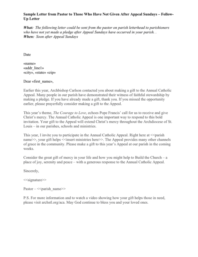 Sample Letter From Pastor Template In