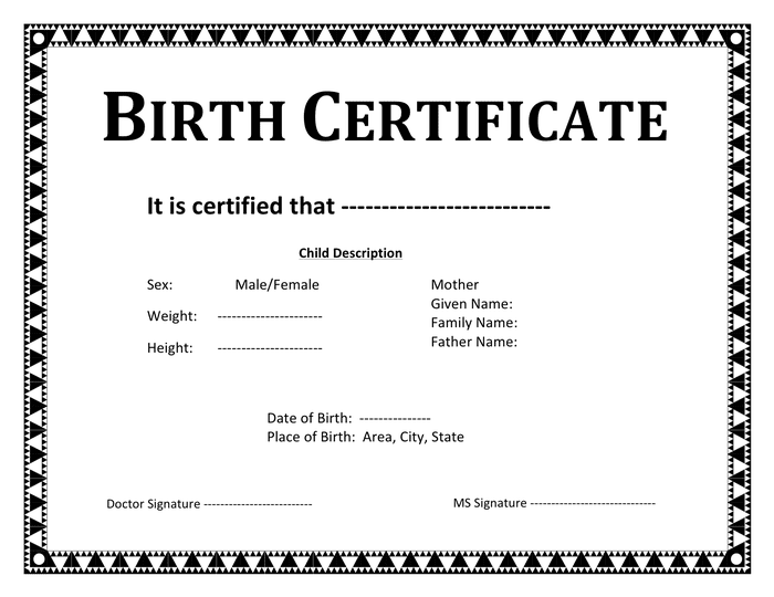 Birth certificate template in Word and Pdf formats
