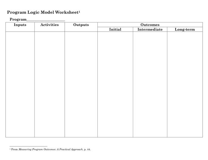 Program Logic Model Worksheet In Word And Formats