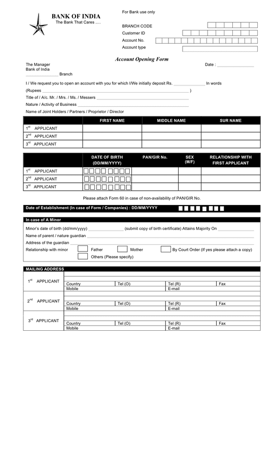 Bank Account Opening Form Template In Word And Pdf Formats