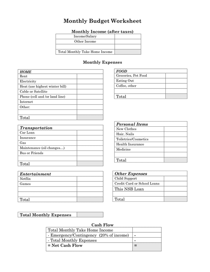 Monthly Budget Worksheet in Word and Pdf formats
