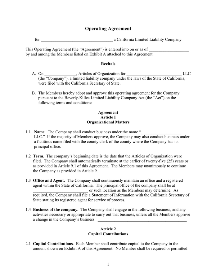 Start an llc business today with lawdistrict's operating agreement template. Operating Agreement Template In Word And Pdf Formats