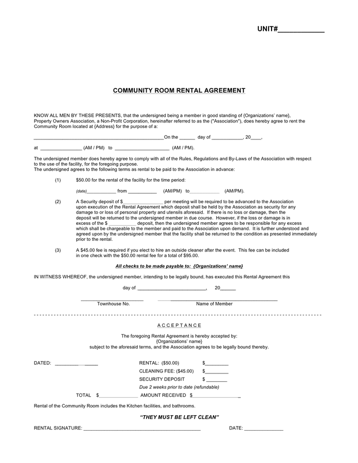 Room Rental Agreement  download free documents for PDF