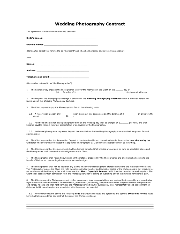 Wedding Photography Contract in Word and Pdf formats