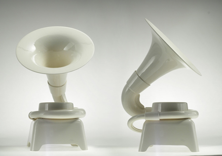 Instantly transform your iPod + earbuds into a rich sounding sculptural audio console.