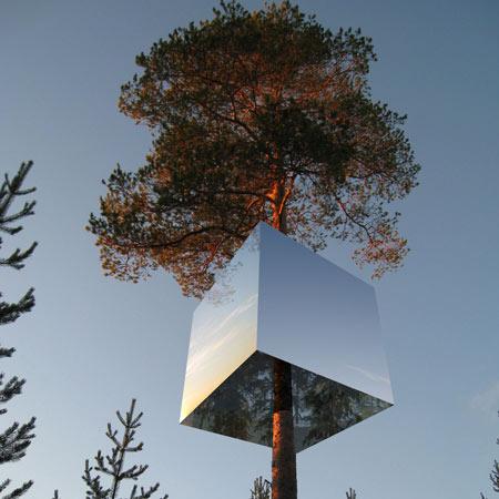 Dezeen, tree-house mirrors, psychology, escape