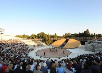 Stage set at the Greek Theatre in Syracuse by OMA
