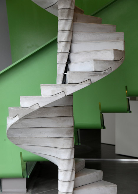 Helix concrete spiral staircase by Matter Design
