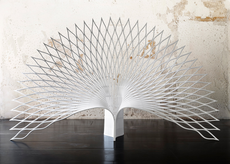 folding chair round steel adirondack shaped like the tail of a peacock by uufie | design dezeen
